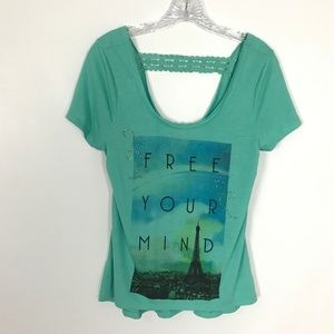 Spoiled Free Your Mind graphic tee crochet detail